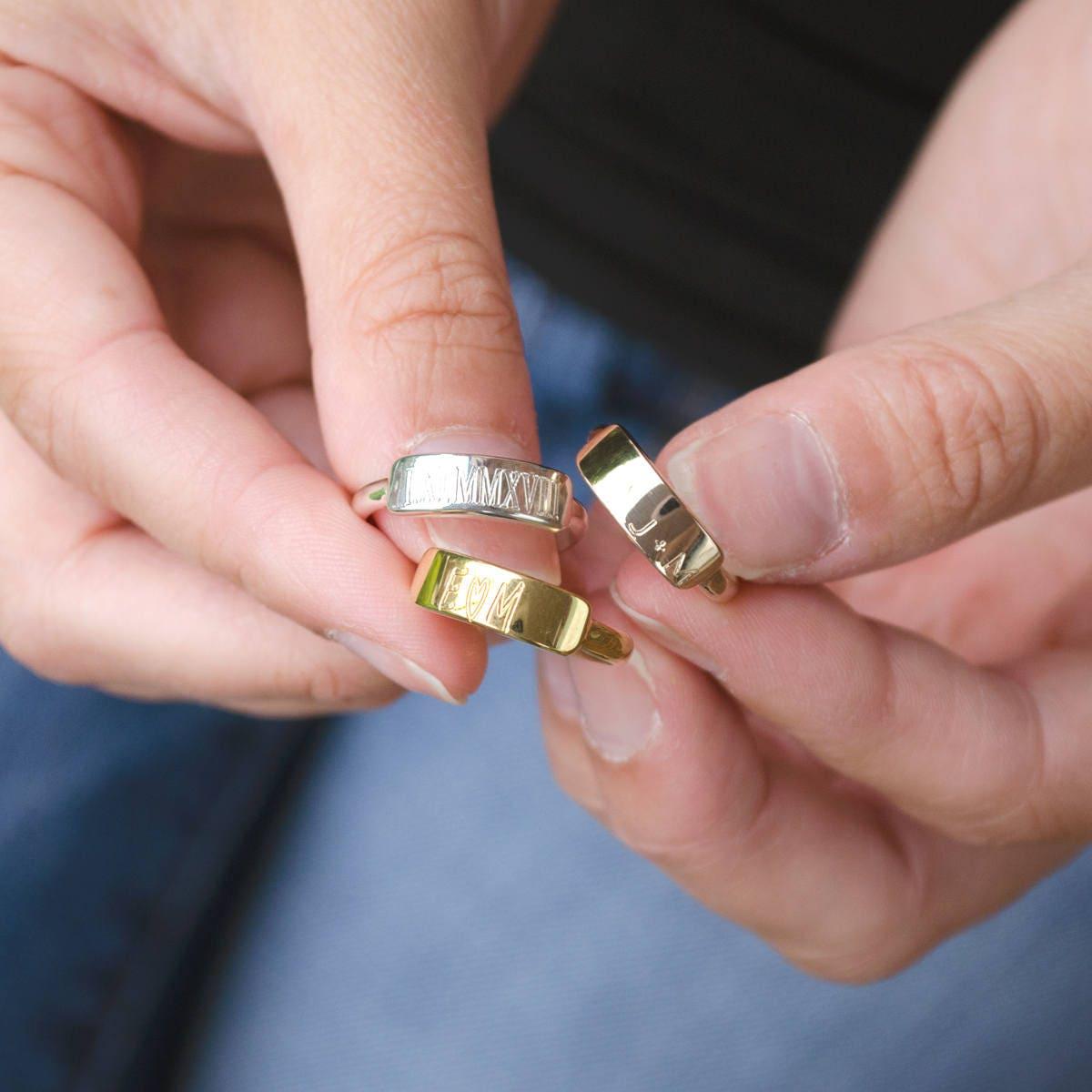 Personalized Name Ring Custom Engraved Ring Name Bar Ring