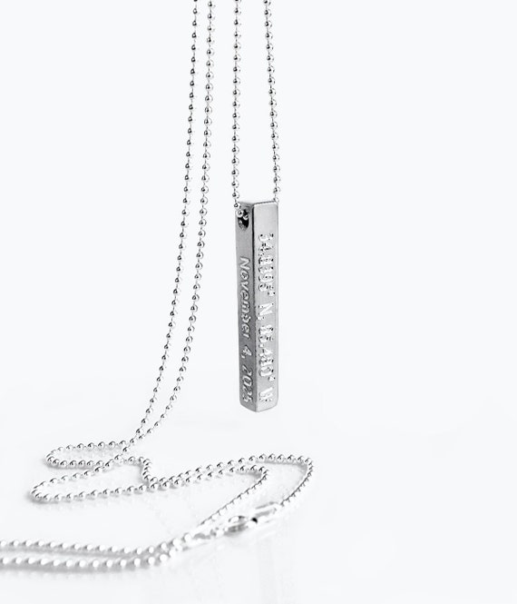 Personalized Bar Necklace chain 18 inch Custom Necklace Charm Jewelry Gift for Women and Men