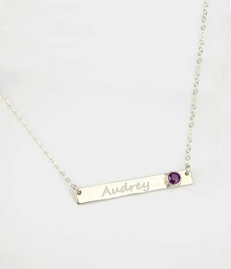 45a123917126b Custom Birthstone necklace, Engraved Bar Necklace, personalized nameplate  Necklace, custom name necklace, personalized necklace, name bar
