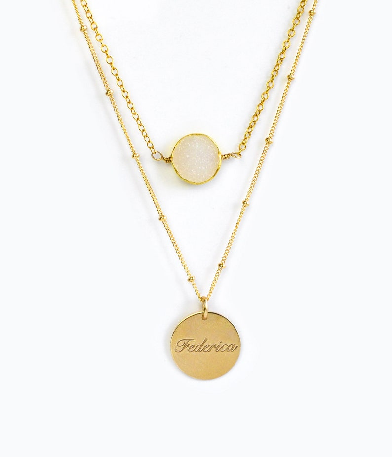 Personalized Name Necklace Set Double Strand Necklace White Druzy Layering Necklace Set with Engraved Name Drusy Bridesmaid Gift for her