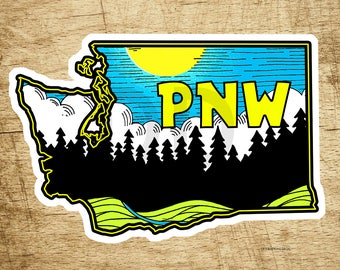 "Washington Pacific Northwest Decal Sticker 4"" x 2.6"" Nature Forest Woods"