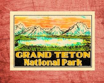 "Grand Teton National Park 4"" x 2.8"" Decal Sticker Vinyl Vintage"