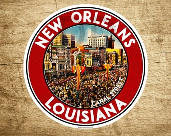 "3 1/2"" New Orleans Louisiana Decal Sticker Mardi Gras Canal Street Vintage Travel"