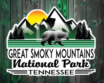"Great Smoky Mountains National Park Tennessee MOUNTAIN Hiking Sticker Decal 3.9"" X 3"""