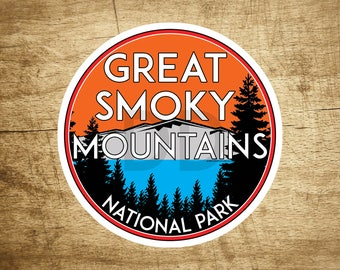 "Great Smoky Mountains National Park Vinyl Decal Sticker 3"" x 3"" Tennessee Smokies Vintage Style"