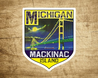 STICKER MACKINAC ISLAND Michigan Bridge Lake Huron Great Lakes Vintage Decal 2