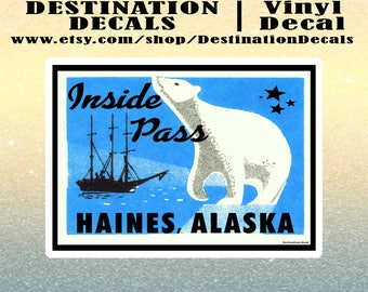 "Haines Alaska Decal Sticker 4"" x 2.8"" Inside Pass Vintage Old Style 4"""