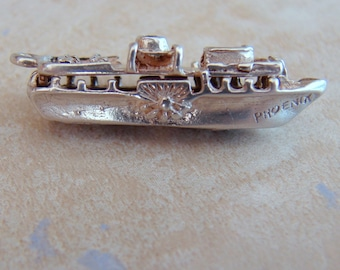 Phoenix Sunken Ship Sterling Silver Vintage Bracelet Charm Boat Shipwreck Opens