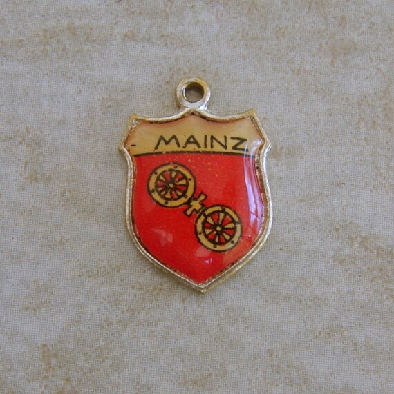 Mainz Germany Enamel Travel Shield Vintage Silver Bracelet Charm German