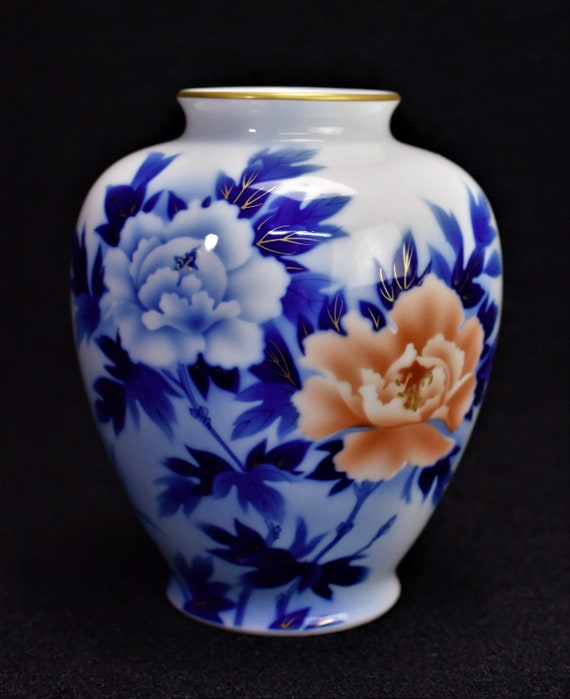 Fukagawa Vase Peony Motif Arita Porcelain Meiji Period Etsy
