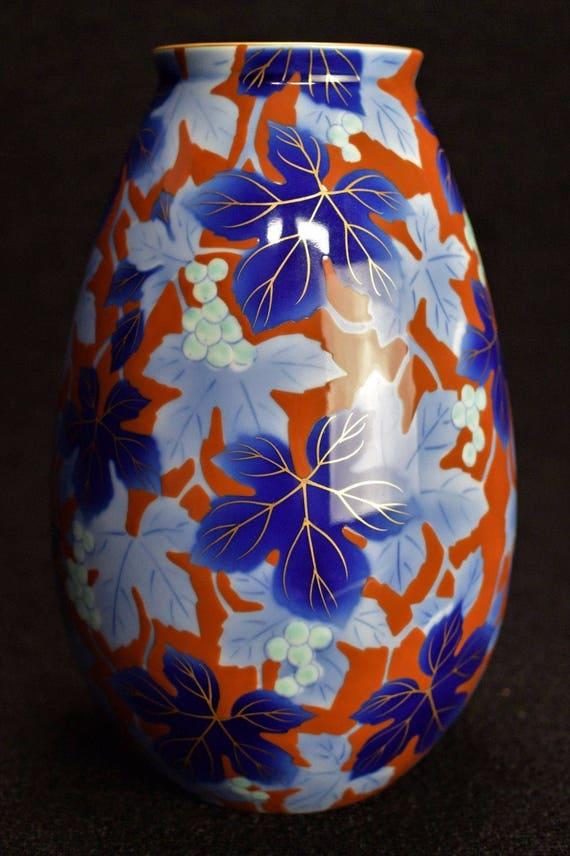 Fukagawa Vase Arita Porcelain Showa Period Grapes And Maple Etsy
