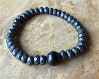 Matte Hematite and Shungite Grounding Bracelet