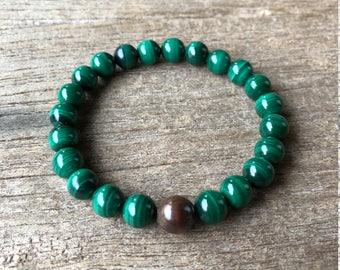Malachite and Copper Grounding Bracelet