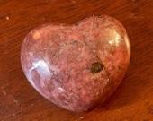 Pretty pink Rhodonite heart crystal sculpture E19110