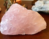 Raw Rose Quartz crystal geode healing cluster E1912
