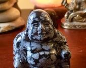 Snowflake Obsidian Crystal Buddha geode statue figurine E198