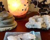 3 Clear Quartz clusters geode healing crystal