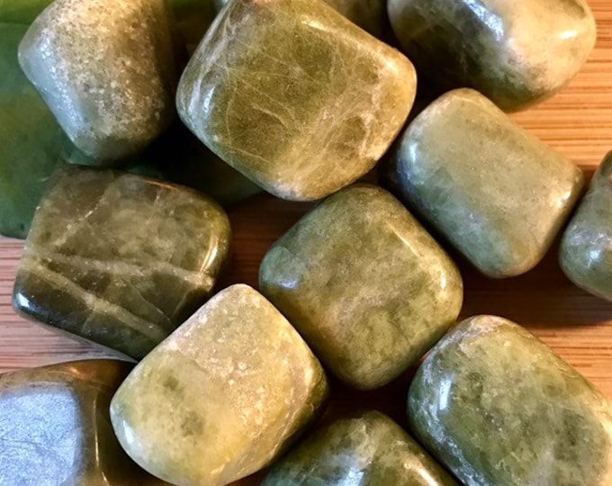 Tumbled Vesuvianite Stones Set with Gift Bag and Note