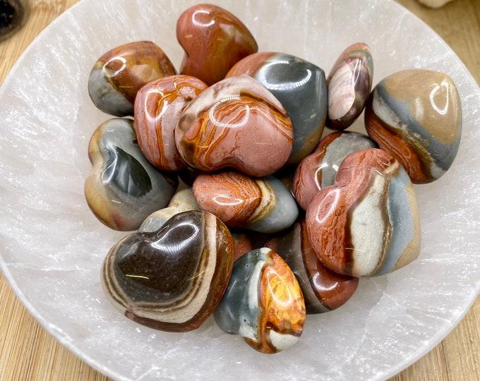 Tumbled polychrome Jasper hearts