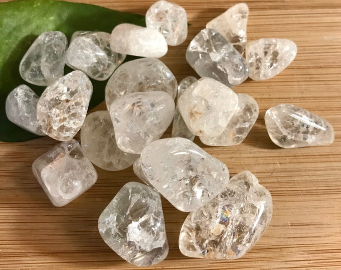 Tumbled Crackle or Rainbow Clear Quartz Stones Set with Gift Bag and Note