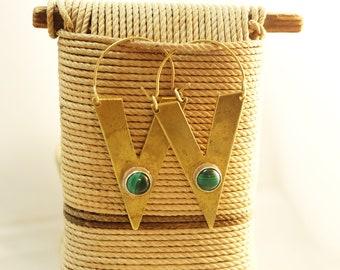 Art deco earrings, art deco brass earrings, semi-precious stone earrings