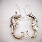 Silver seahorse earrings, silver plated, bronze cast, original seahorse, sacred nature, elegant, steampunk, boho, fashion accessory