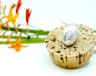 Walnut Locket, Silver Plated, Walnut Box pendant, Brass casting, Organick Mechanik