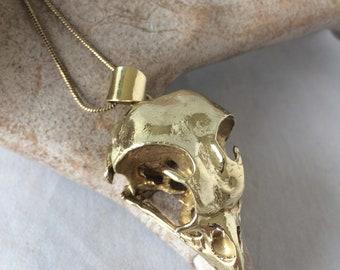 Owl pendant, solid brass casting of an owl, real life skull casting, organik mechanik, Owl talisman, brass owl
