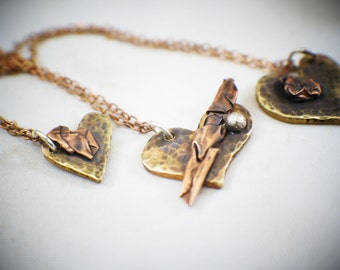 copper brass heart necklace, handmade heart necklace, also available in sterling silver