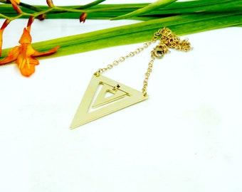 Figura, triangle necklace, brass necklace, organik mechanik