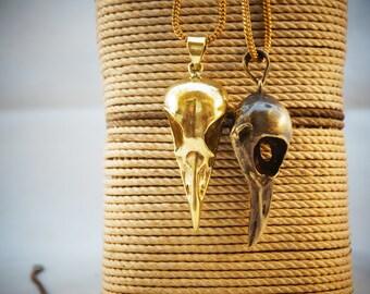 Bird skull necklace, charm pendant, brass necklace, unique necklace, bulbul necklace, semi precious stone necklace, steampunk necklace.
