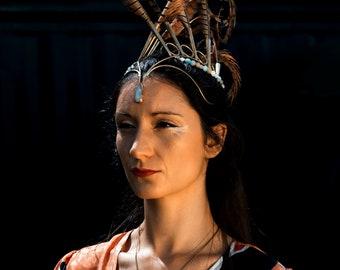 The Pheasant Mohawk, Unique Headdress, Performance costume wear, Feather headdress, Organik mechanik