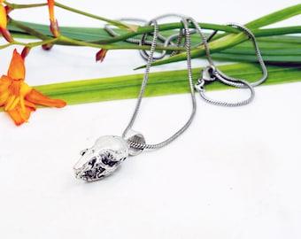 Mouse Pendant, Silver Plated, Mouse skull necklace, Organik mechanik