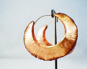 beautiful fold formed, copper hoop earrings, sterling silver hock