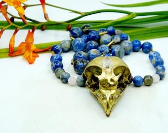 Rose quartz & Blue Jasper Owl Mala, Owl skull, Mala necklace, organik mechanik