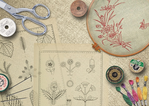 1917 Collection Of 200 Vintage Embroidery Patterns Needle Etsy