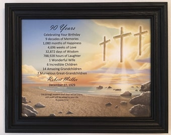 90th Birthday Gift Religious Idea Framed Born In 1929 Milestone Party Decor 90 Years Old Gifts