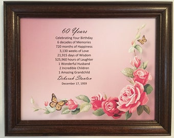 60th Birthday Gift Party Decorations Ideas Gifts For Women Frame Included Milestone 60 Years Old Born In 1959