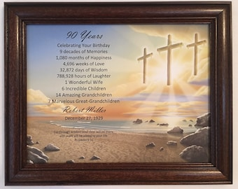 90th Birthday Gift Religious For Dad Grandpa Born In 1929 Milestone Personalized Frame Included Party Decoration