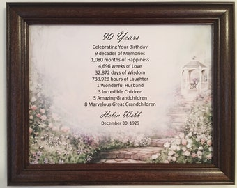 90th Birthday Gift Born In 1929 Ideas Gifts For Women Frame Included Milestone Party Decor 90 Year Old
