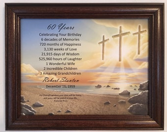 60th Birthday Gift Religious For Dad Grandpa Born In 1959 Milestone Personalized Frame Included Party Decoration