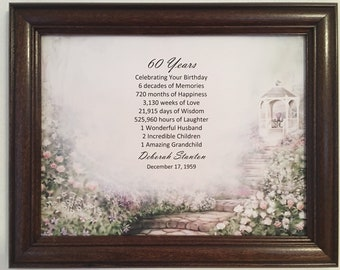 60th Birthday Gift Born In 1959 Ideas Gifts For Women Frame Included Milestone Party Decor 60 Year Old