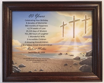 80th Birthday Gift Religious For Dad Grandpa Born In 1939 Milestone Personalized Frame Included Party Decoration