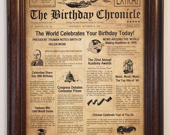 70th Birthday Gifts Back In 1949 Party Decorations Frame Included Gift Ideas 70 Years Old