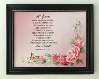 90th Birthday Gift Framed Print 1929 Milestone Keepsake For Mom Grandma Personalized Frame Included Happy Party