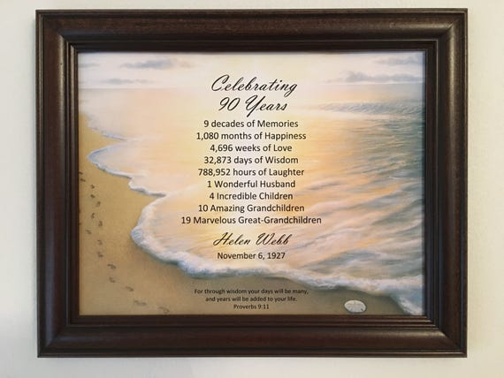 90th Birthday Gift Religious Idea Framed Born