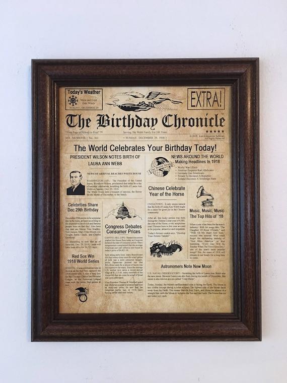 100th Birthday 100th Birthday Gift Frame Included 100th Etsy
