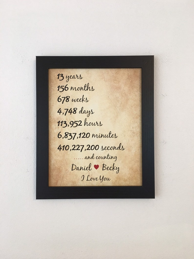 PERSONALISED 13th Wedding Anniversary Print Years Gift Present Picture Wall Art