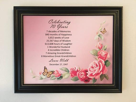 70th Birthday Gift Idea Framed Born In 1948