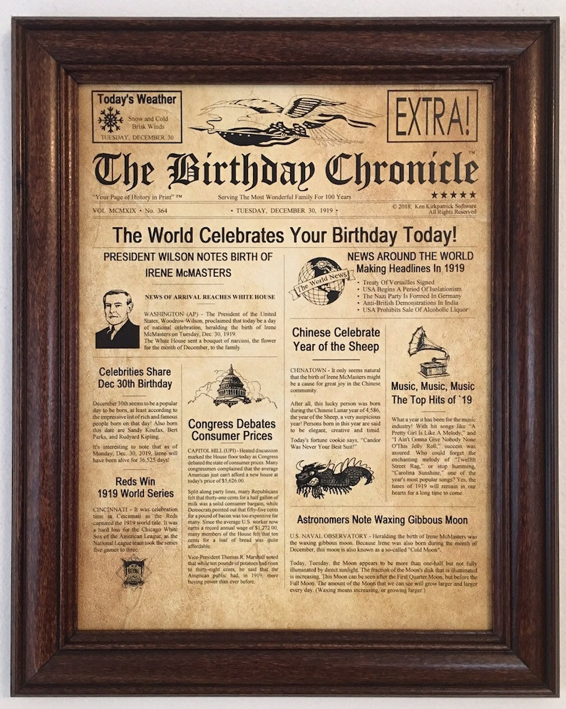 100th Birthday Gift Back In 1919 Party Decorations Frame Included Gifts Ideas 100 Years Old